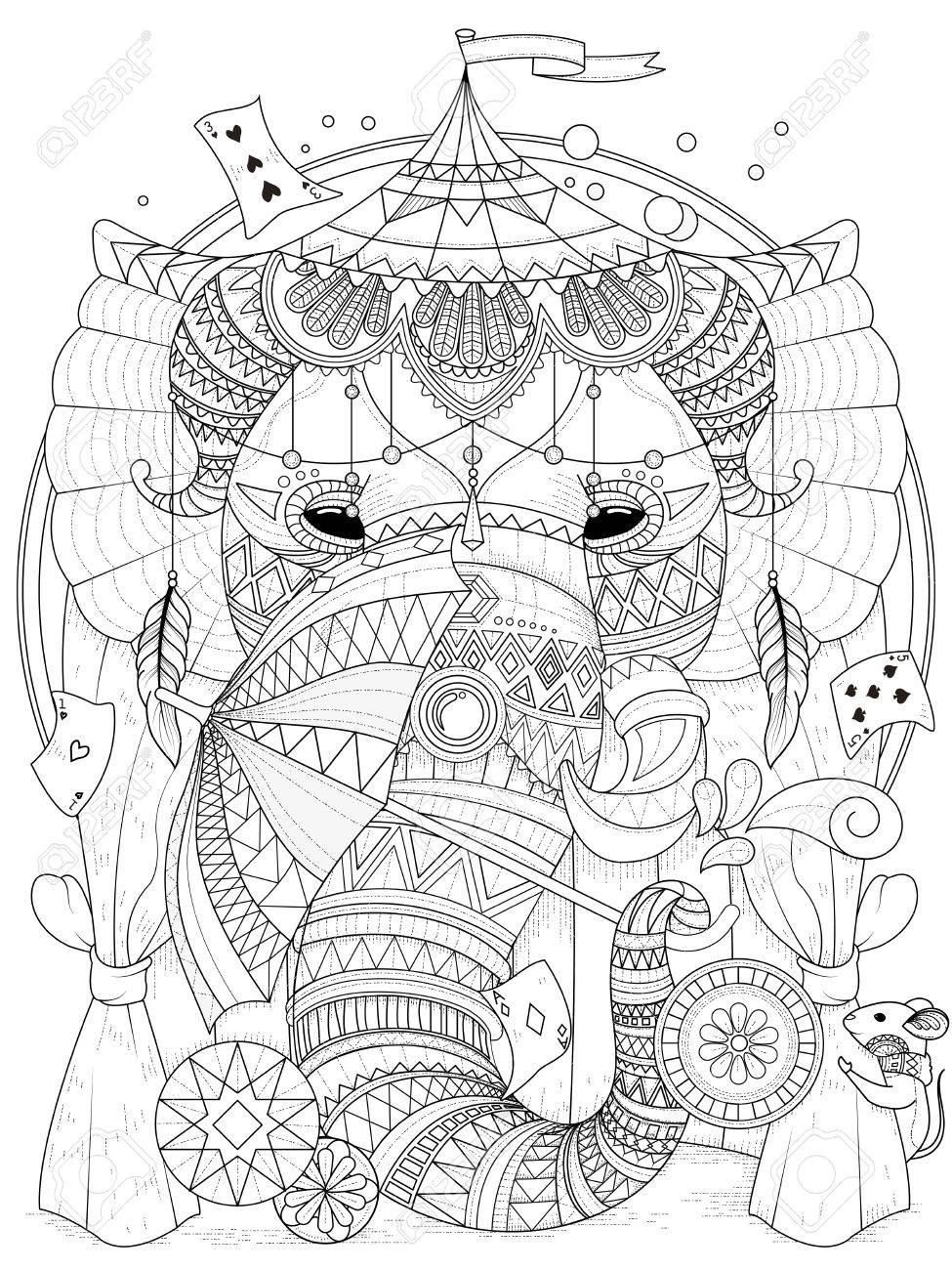 Coloriage Adulte Cirque.Coloriage Adulte Elephant Dans Le Cirque Avec Des Accessoires De