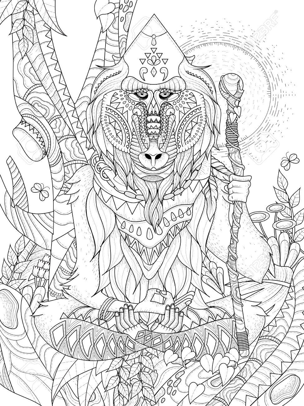 Wisdom Elder Baboon Crossedlegged In Tree Adult Coloring Page