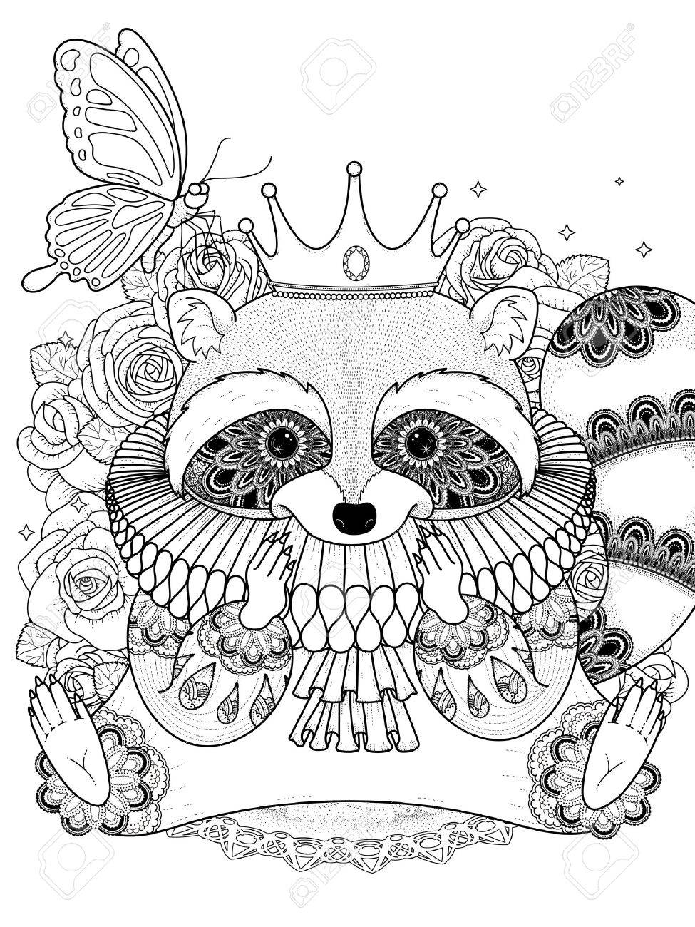 Adorable Raccoon In Gorgeous Clothes Adult Coloring Page Royalty Free Cliparts Vectors And Stock Illustration Image 56869436