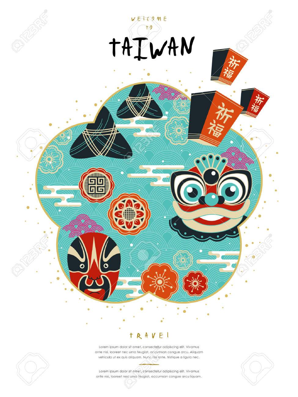 Poster design for events - Vector Lovely Taiwan Culture Poster Design With Famous Events And Symbol