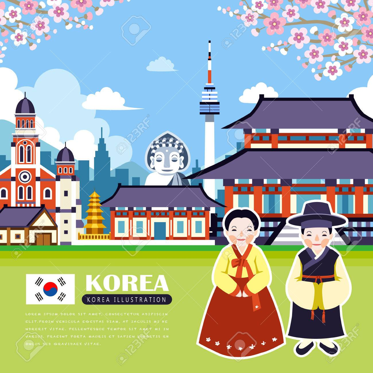 adorable Korea travel poster design with attractions - 60001033