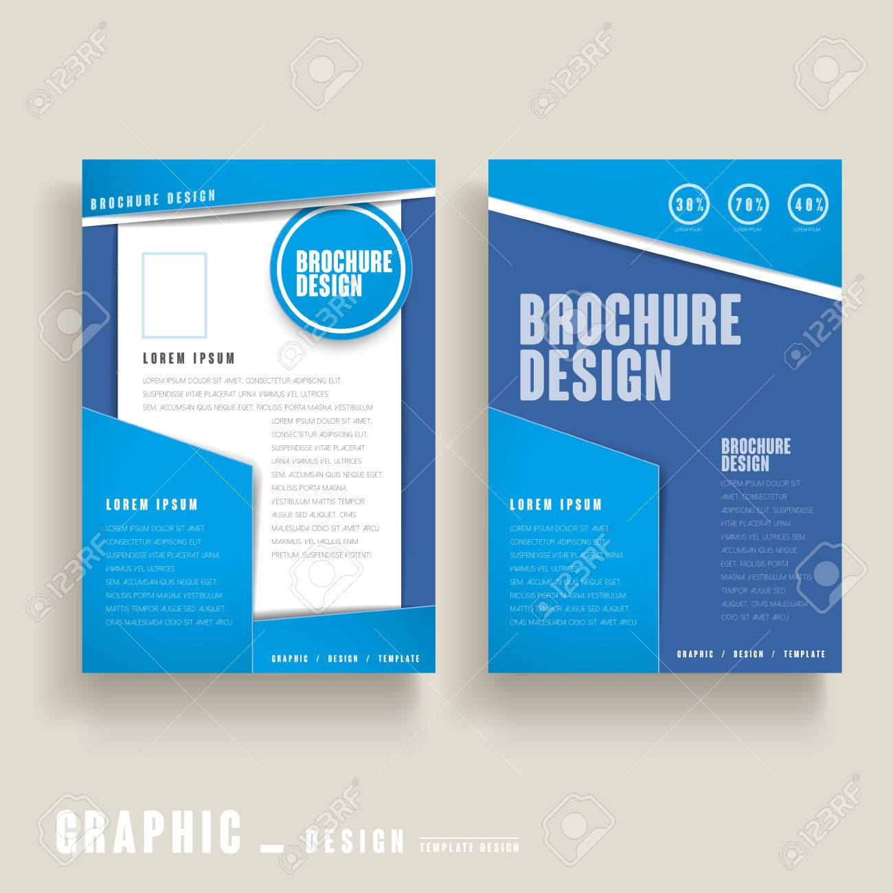 Modern Brochure Template Design In Blue And White Royalty Free - Modern brochure template
