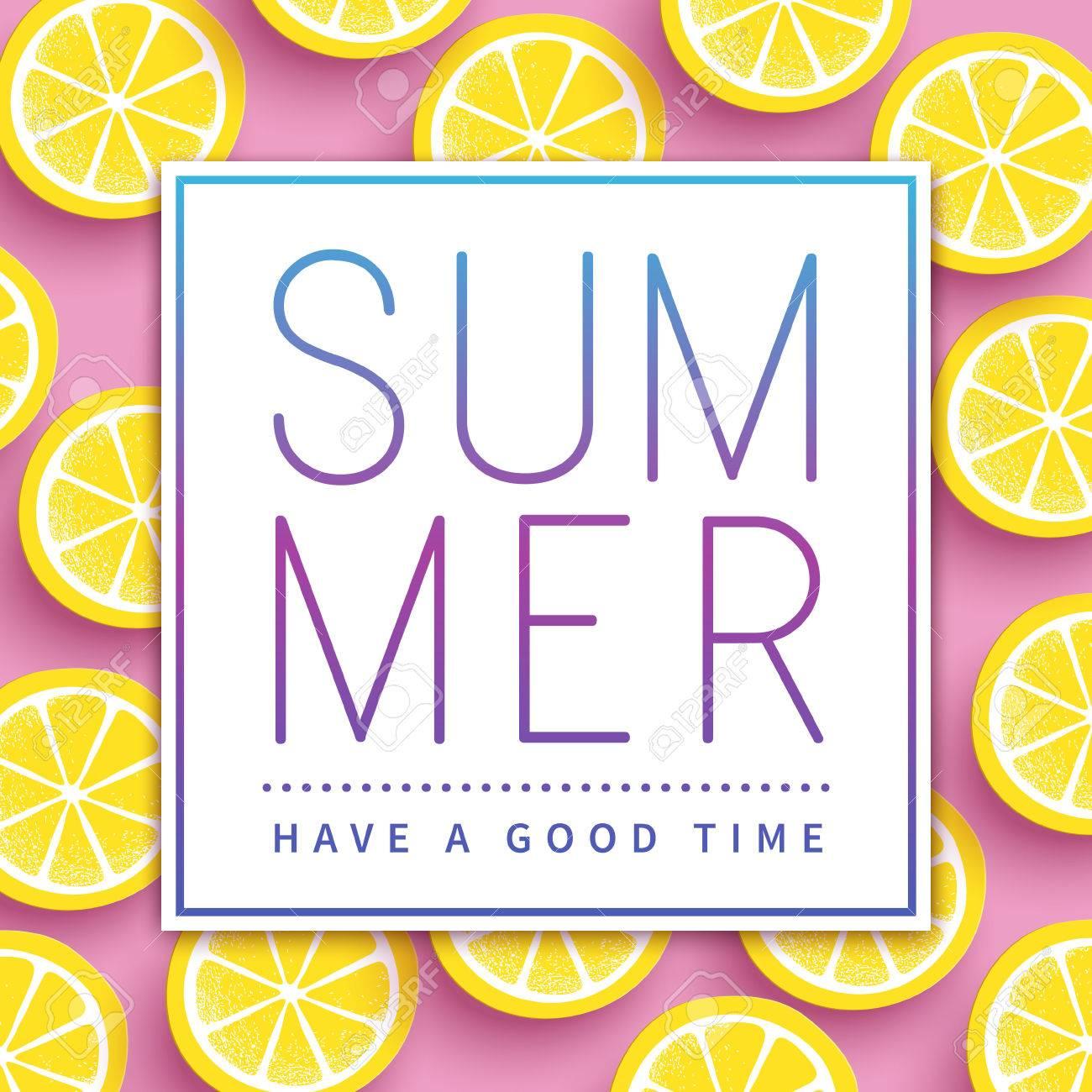 Trendy summer poster design - sliced citrus over pink background - 60841341