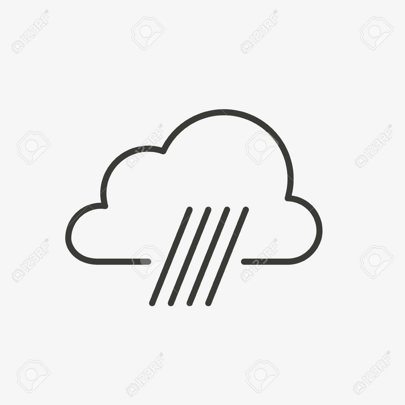 rain cloud icon of brown outline for illustration