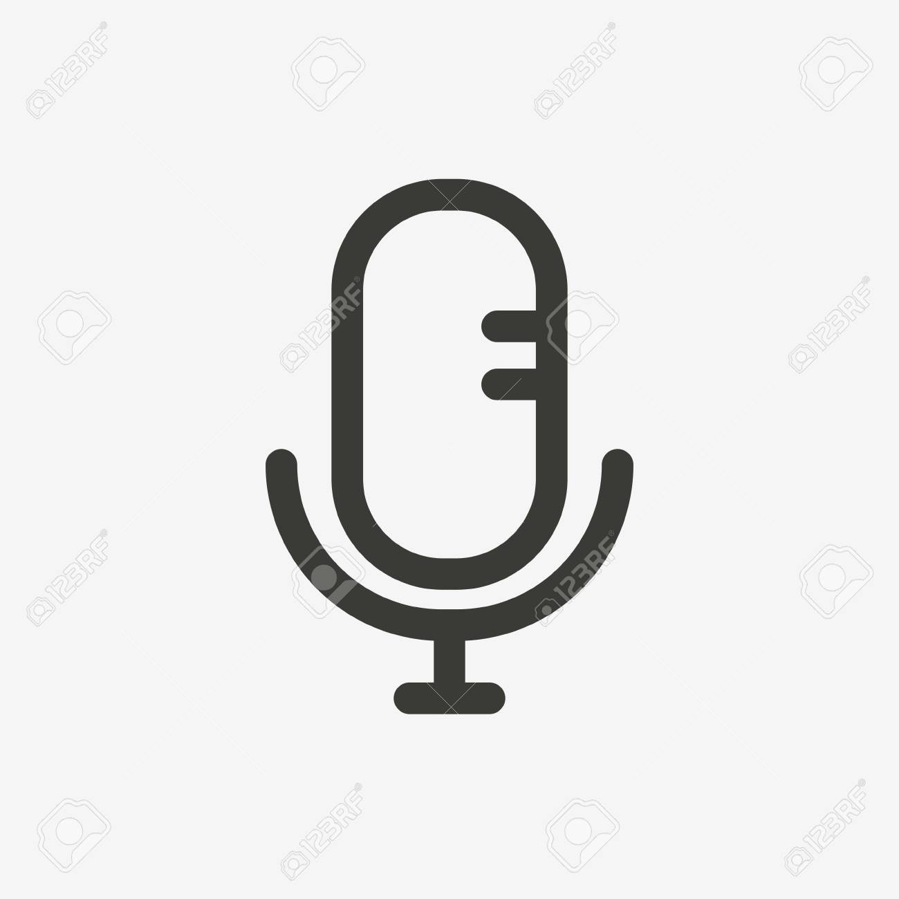 Microphone Icon In Brown Outline For Application Or Decoration
