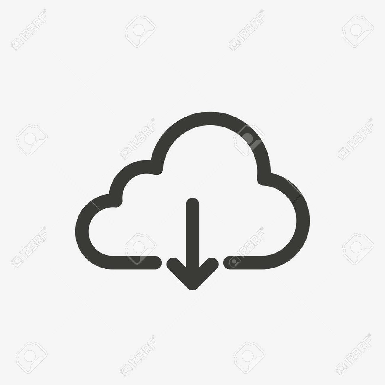 download cloud icon of brown outline for illustration - 60839309