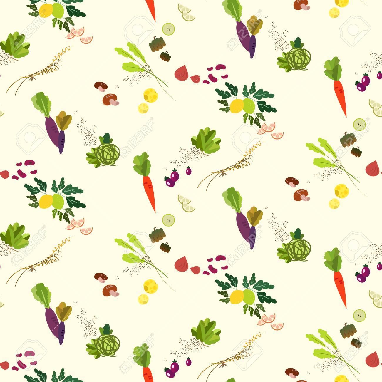 Lovely vegetables and fruit seamless pattern design - 61192554