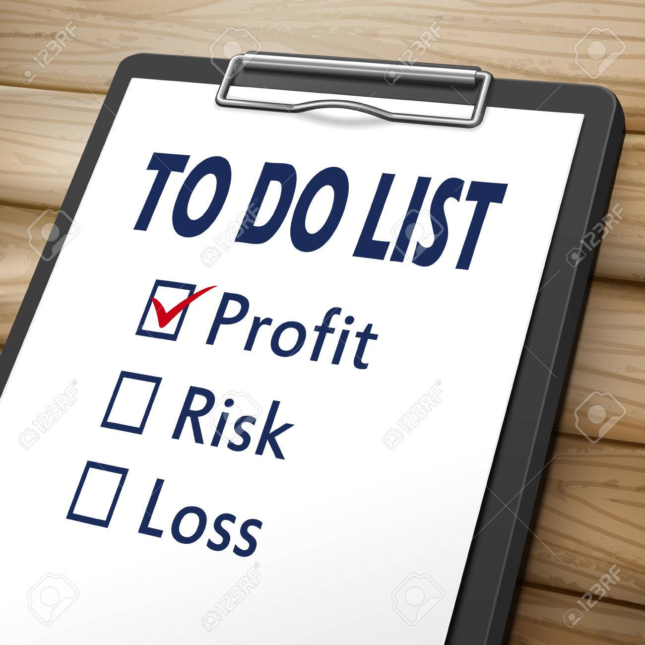 to do list clipboard 3d image with check boxes marked for profit