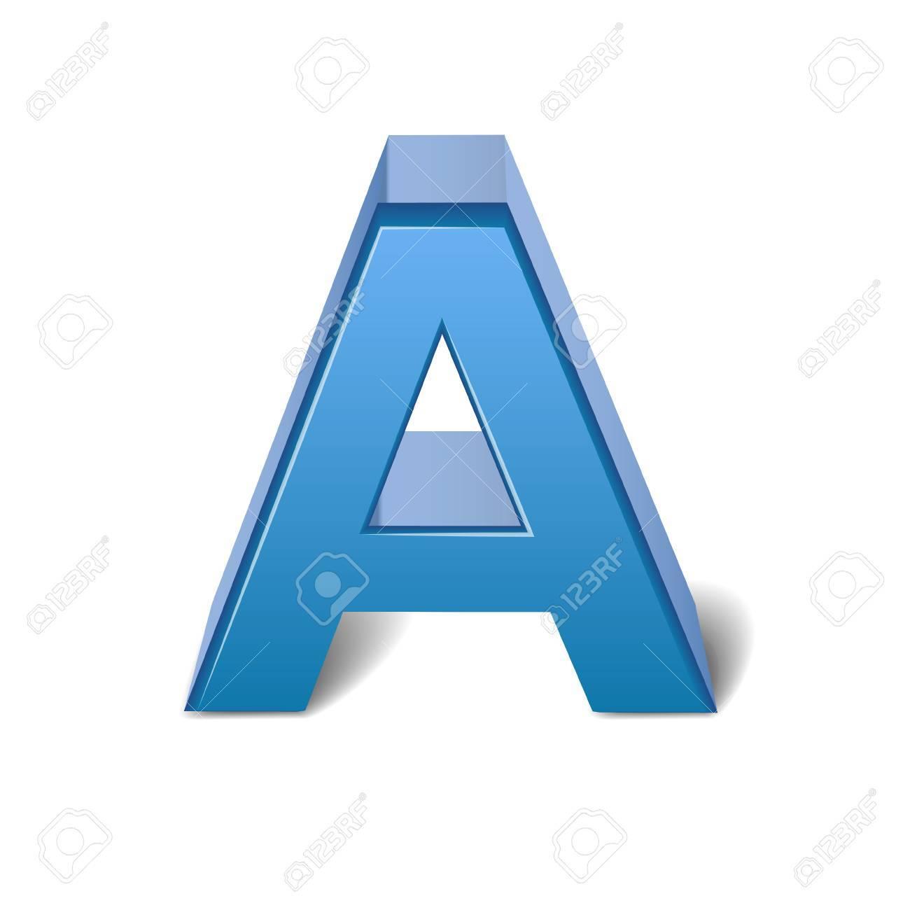 3D-Bild Blauen Buchstaben A Auf Weißem Hintergrund Lizenzfrei ...