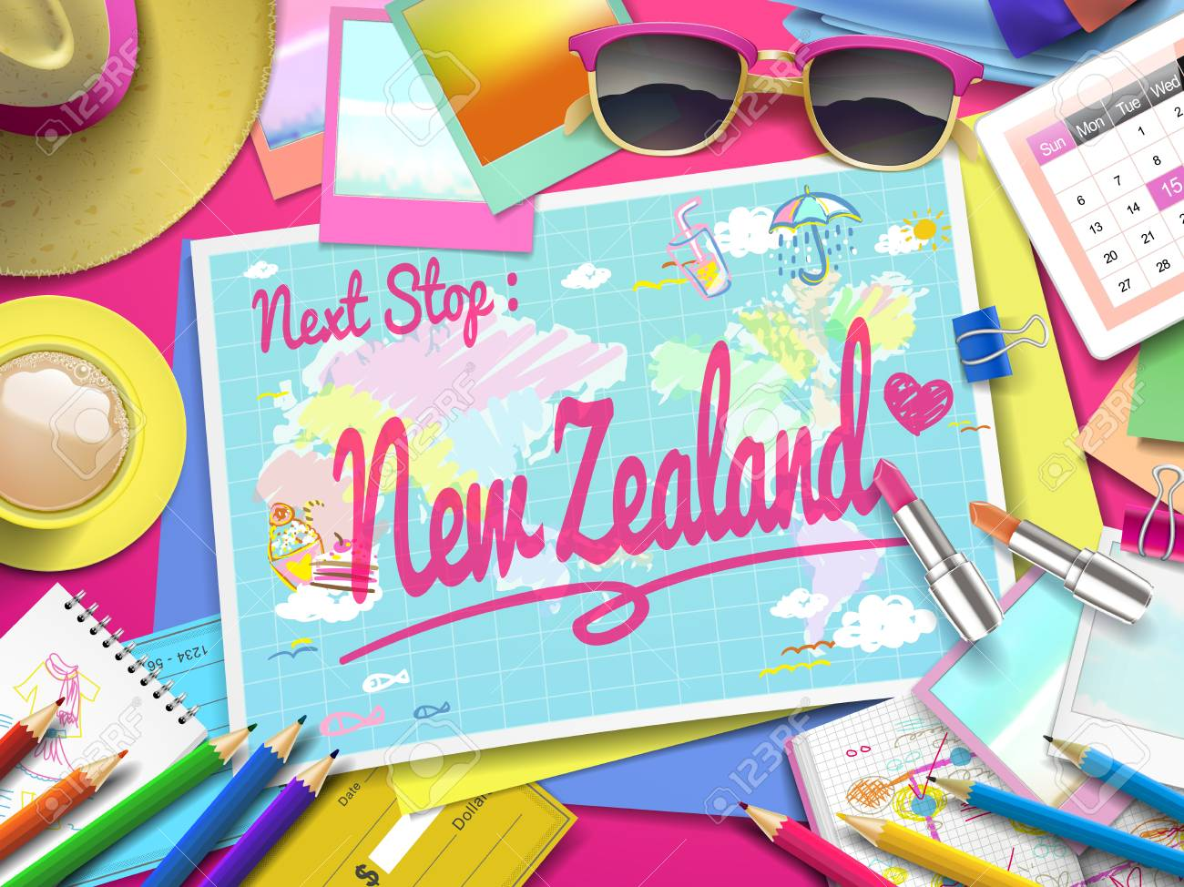 Travel Map New Zealand.New Zealand On Map Top View Of Colorful Travel Essentials On