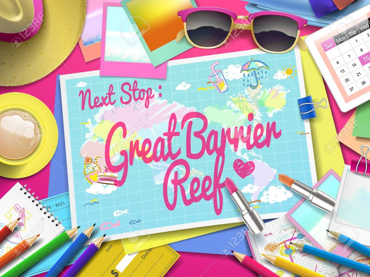Great Barrier Reef Karte.Great Barrier Reef On Map Top View Of Colorful Travel Essentials