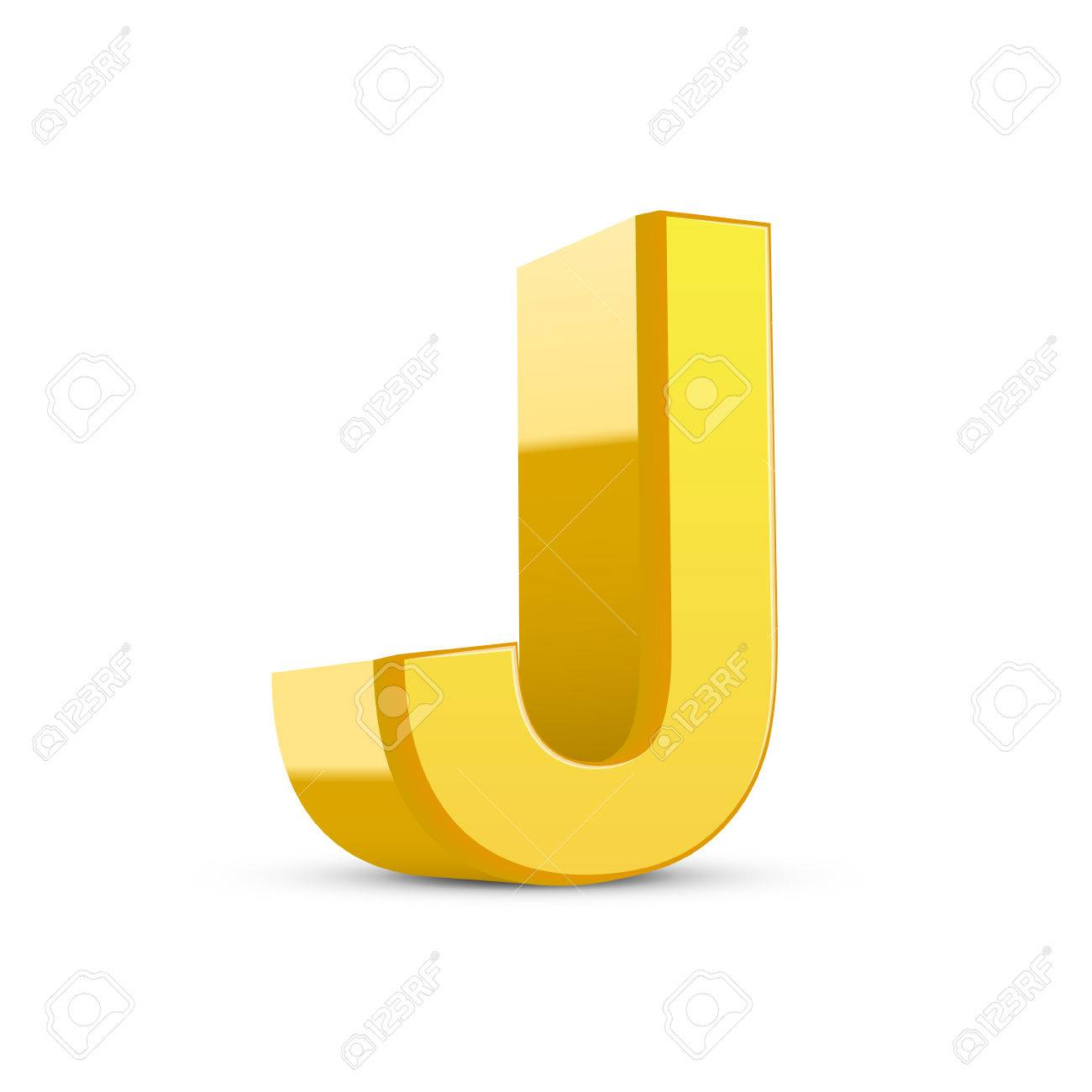 3d Image Yellow Letter J Isolated On White Background Royalty Free