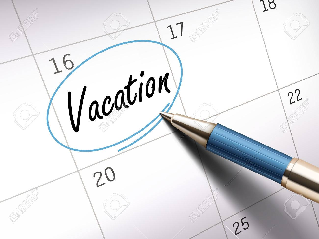 Vacation Word Circle Marked On A Calendar By A Blue Pen 3d Illustration