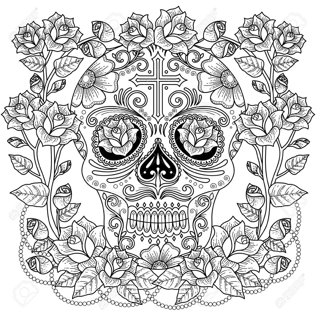 banque dimages fantastique coloriage adulte magnifique crne avec des roses et des croix motif anti stress pour la coloration