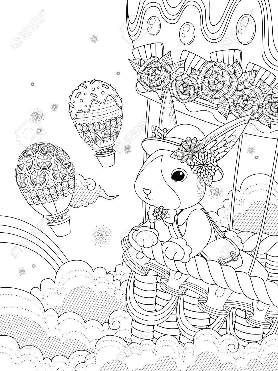 Preciosa Página Para Colorear Para Adultos, Señorita Conejo Toma ...