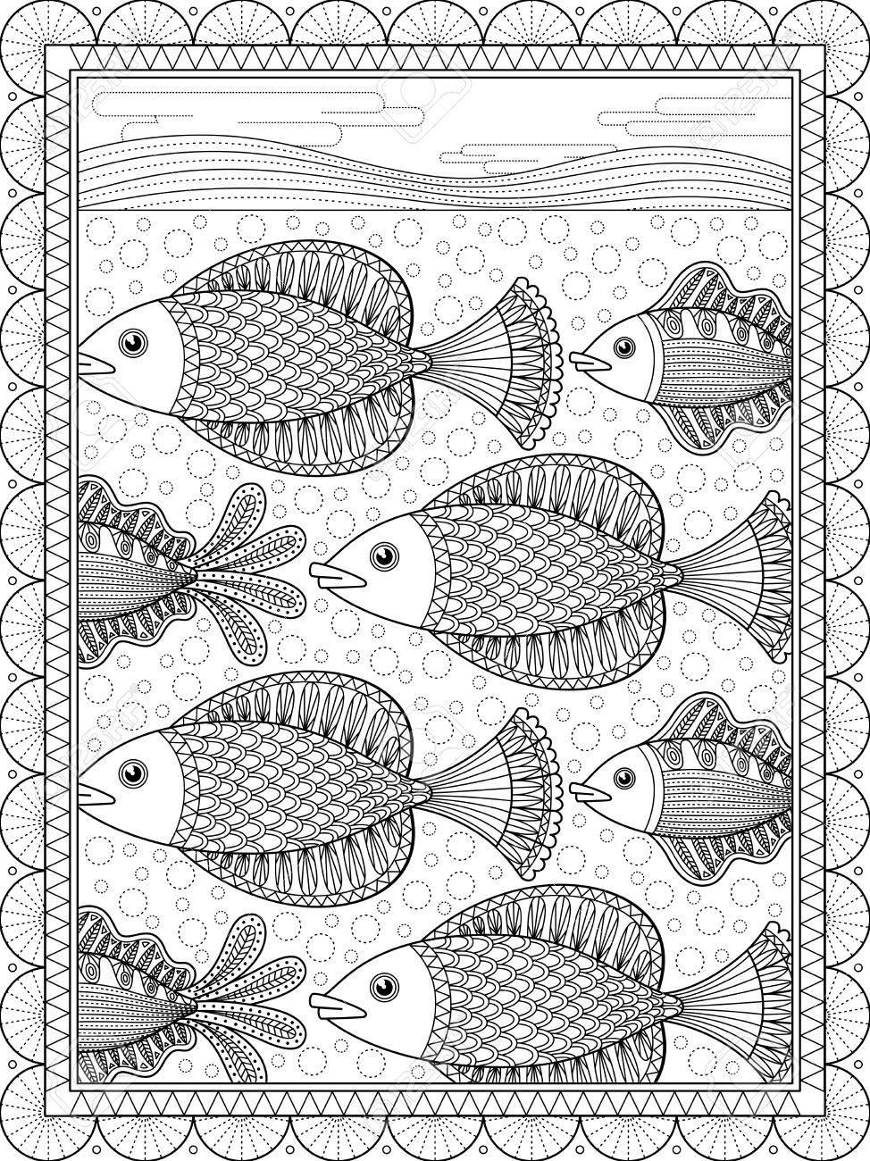 Elegante Erwachsenen Malvorlagen, Schöne Schwimmen Fische, Anti ...