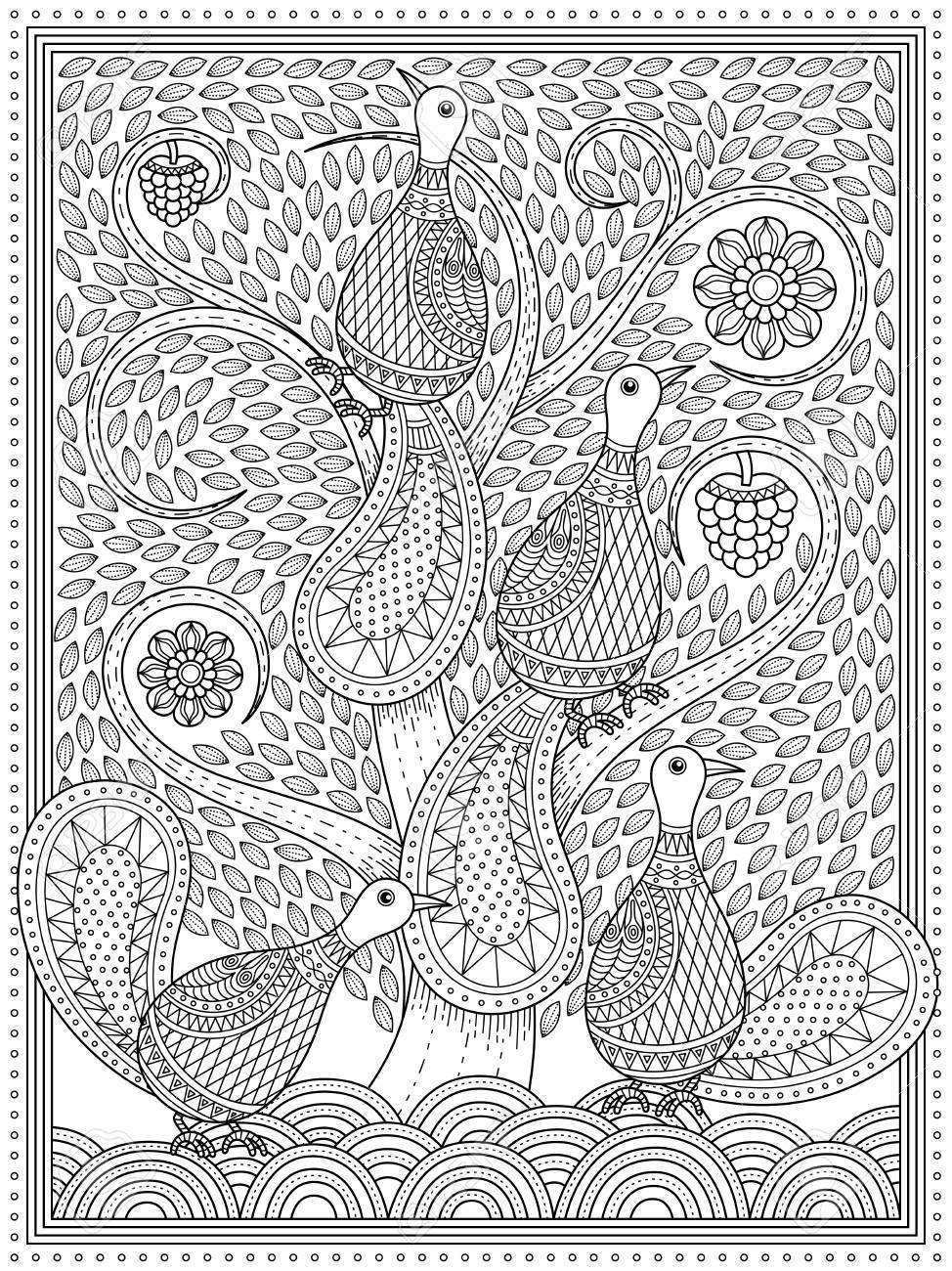 Elegante Erwachsene Malvorlagen Pfauen Im Wirbel Baum Anti Stress