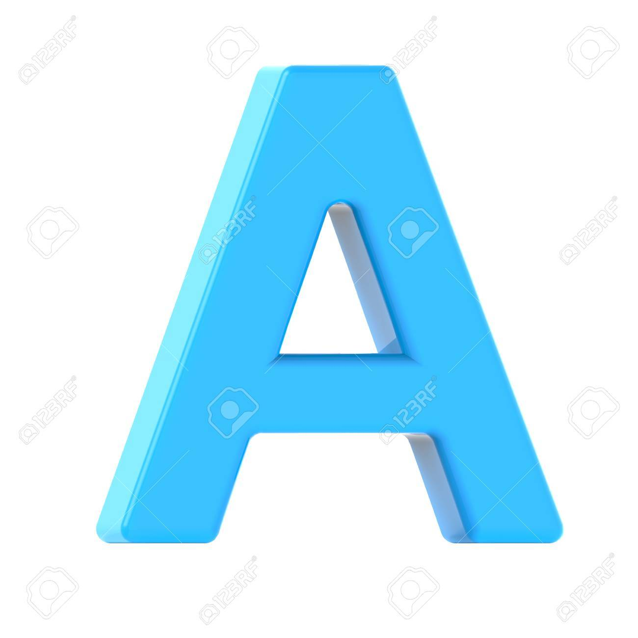 3d Left Leaning Light Blue Letter A, 3D Rendering Graphic Isolated