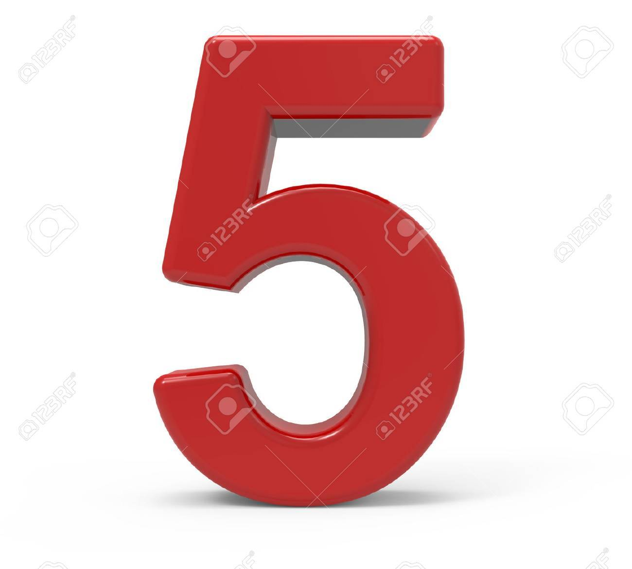 3d rendering red number 5 isolated white background - 64606068