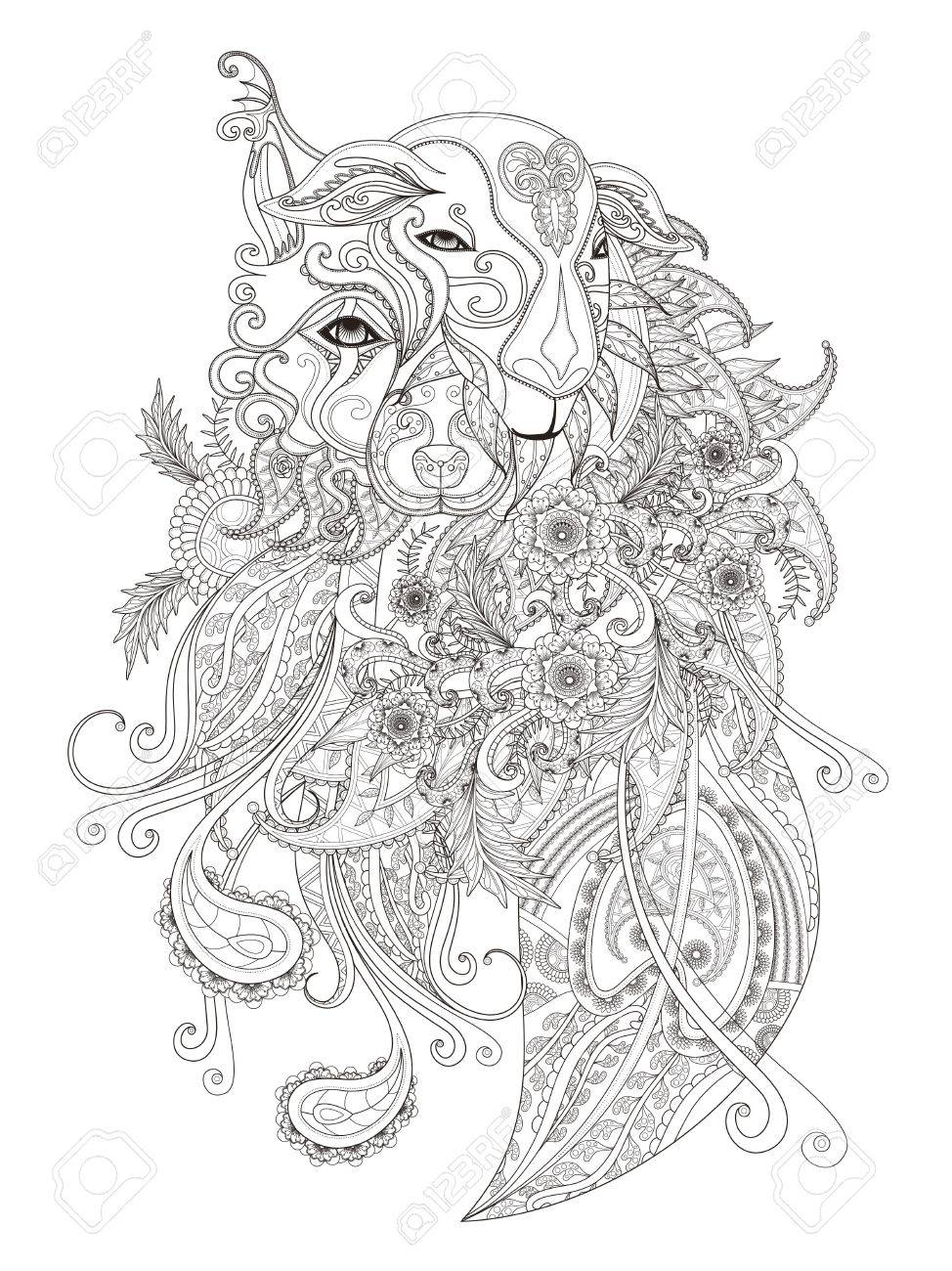 Coloring pages for stress relief - Fantastic Adult Coloring Page Combination Of Sheep And Dog Or Wolf Decorative Floral Element
