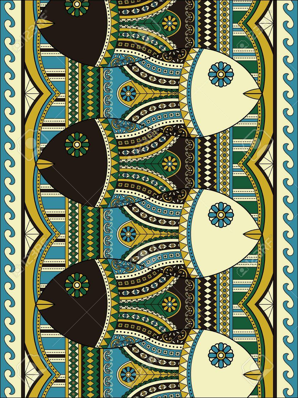 Lovely Adult Coloring Page, Cute Fish With Geometric Patterns ...