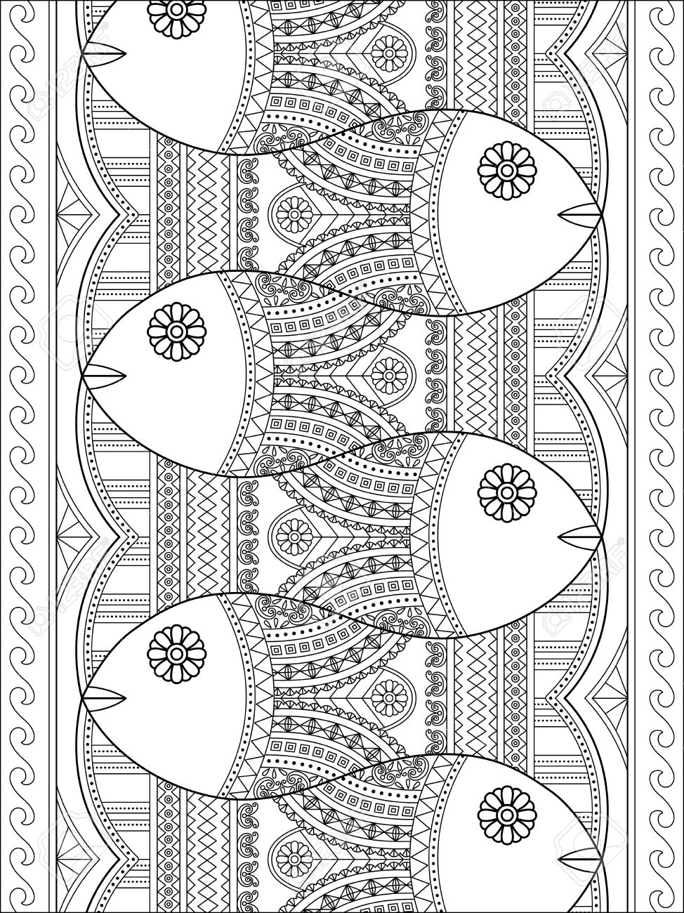 - Lovely Adult Coloring Page, Cute Fish With Geometric Patterns