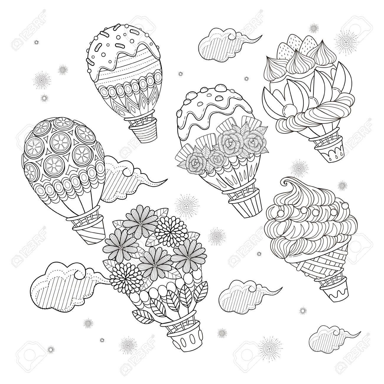 Hot Air Balloon Adult Coloring Page, Lovely Sweets Decoration ...