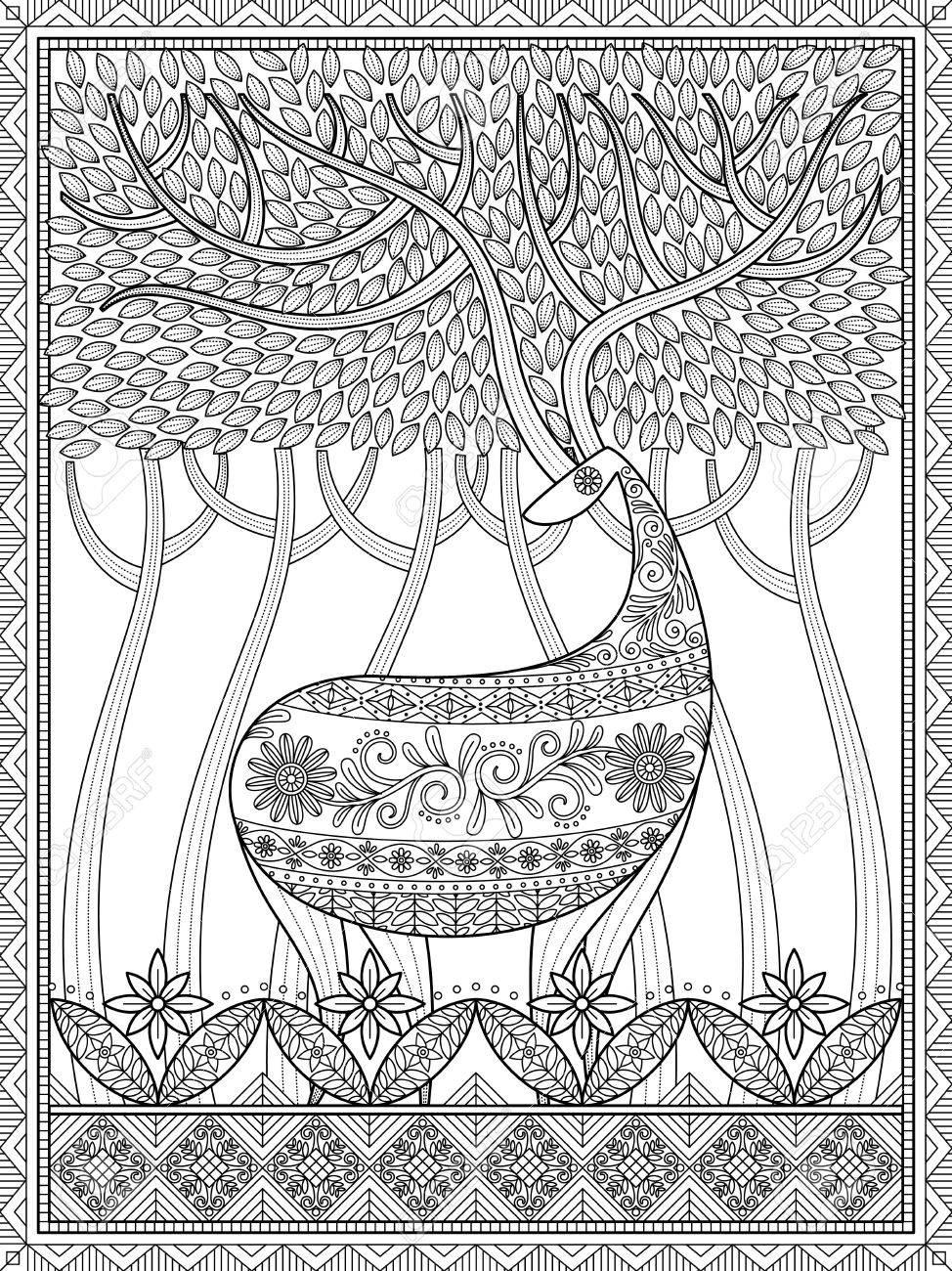Coloriage Adulte Foret.Elegant Coloriage Adulte Cerfs Avec De Grands Bois En Bois Belle Et Mysterieuse Foret Le Stress Coloriage Soulagement Pour Vous