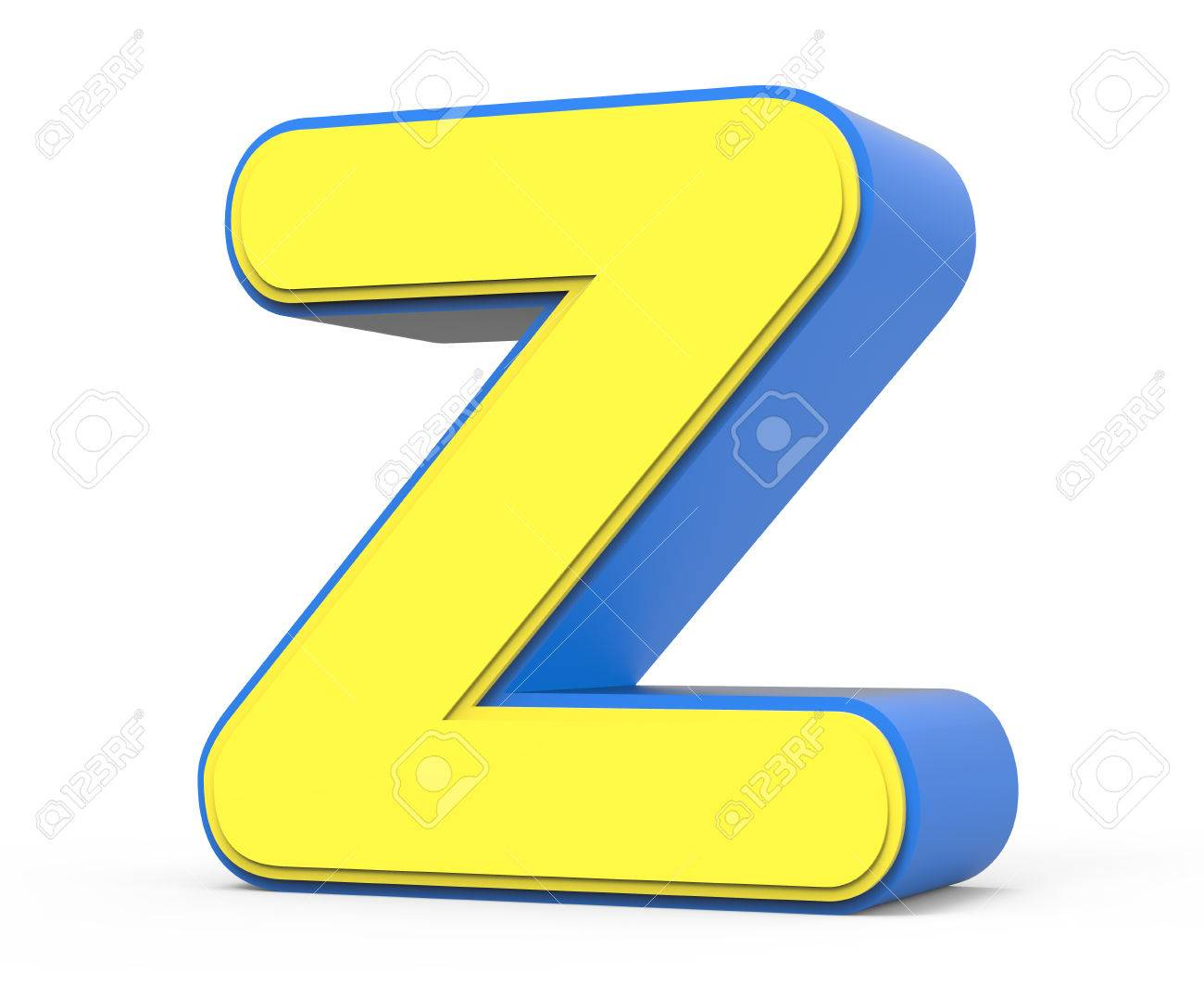 Right Leaning 3d Rendering Cute Yellow Letter Z Isolated White
