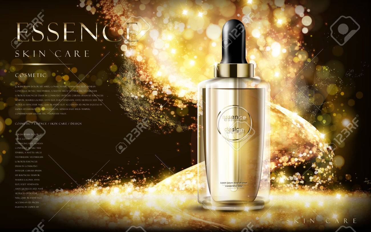 golden essence skin care contained in bottle, glitter background in 3d illustration - 68410688