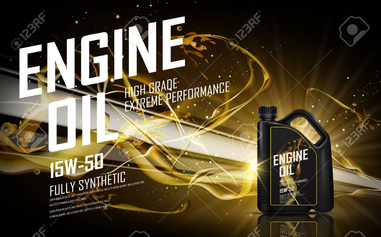 engine oil with golden beam background, 3d illustration - 68363476