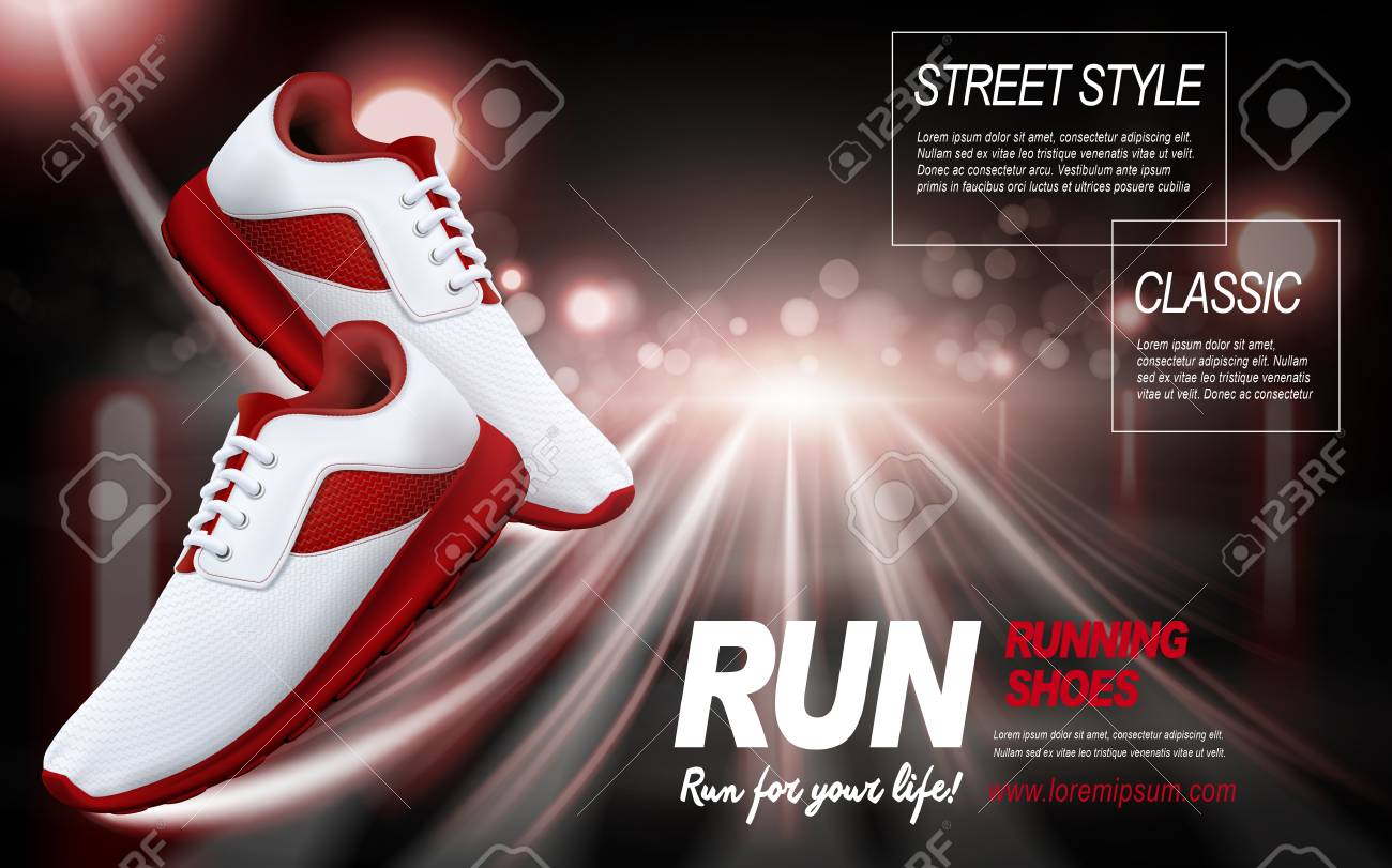 red running shoes with special effects, 3d illustration