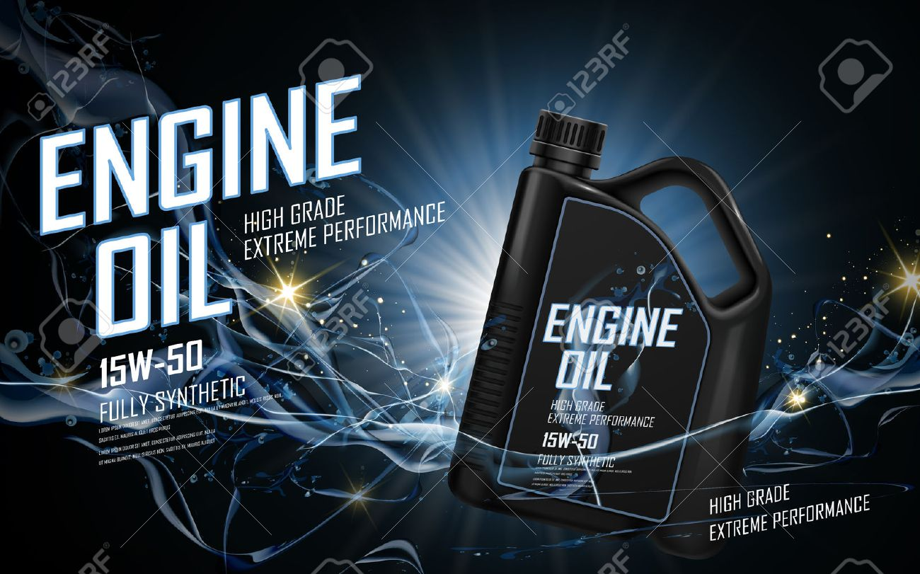 engine oil ad with blue current background, 3d illustration - 68363486
