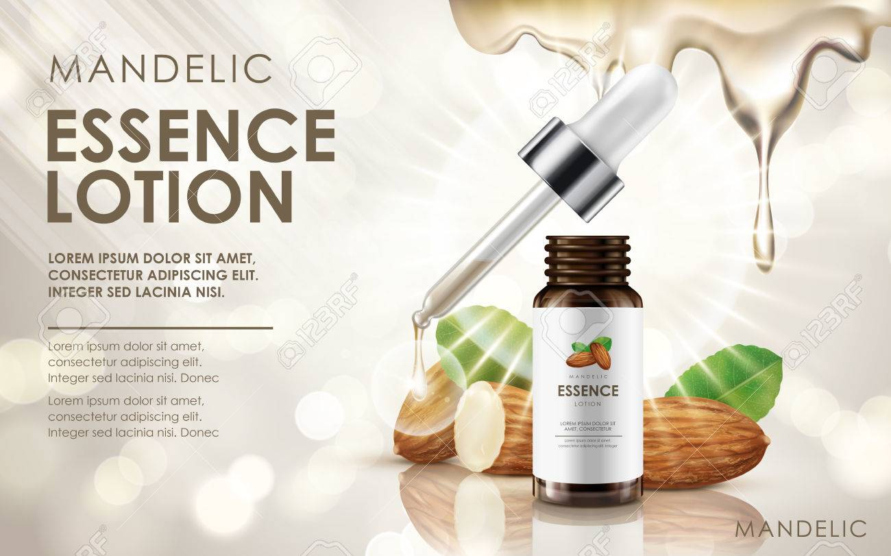 mandelic essence lotion contained in drop bottle, with almond and cream elements, 3d illustration - 68221720