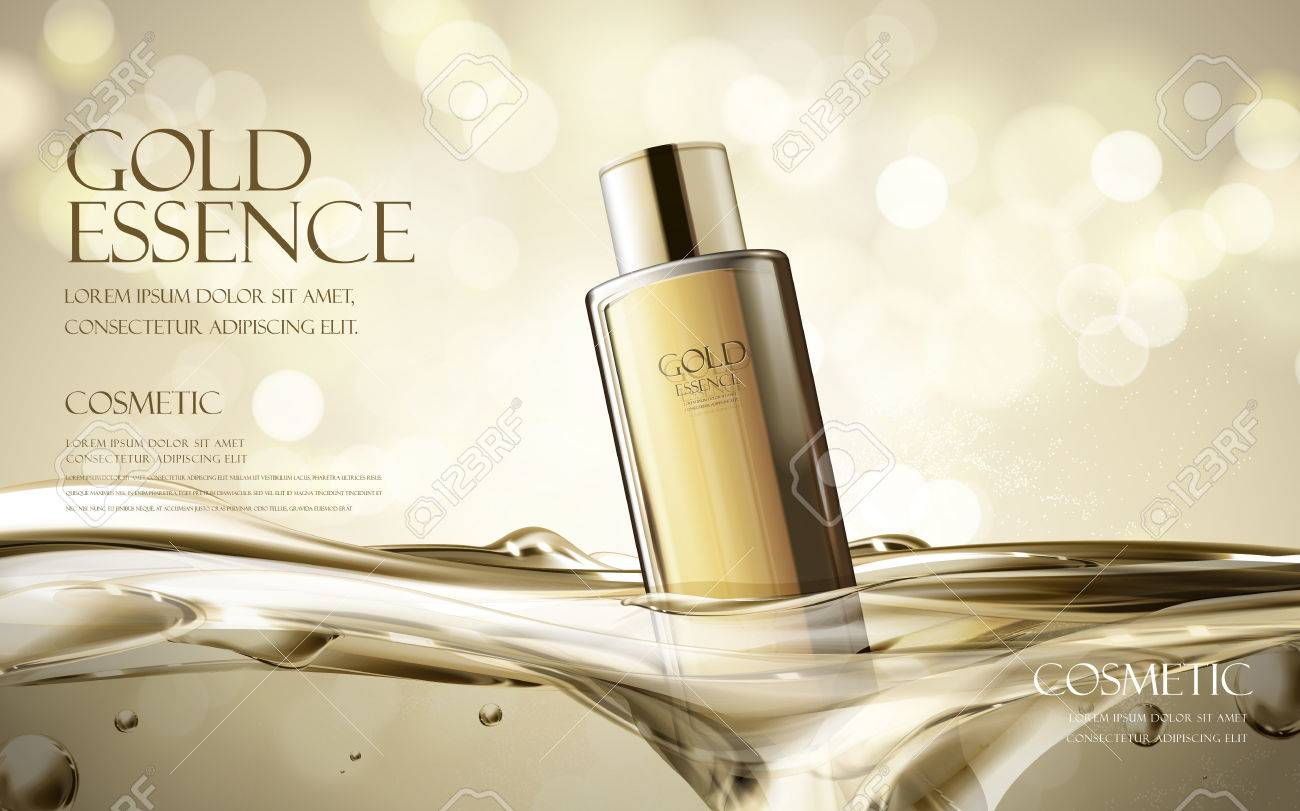 essence contained in black bottle, with transparent water background, 3d illustration - 68367358