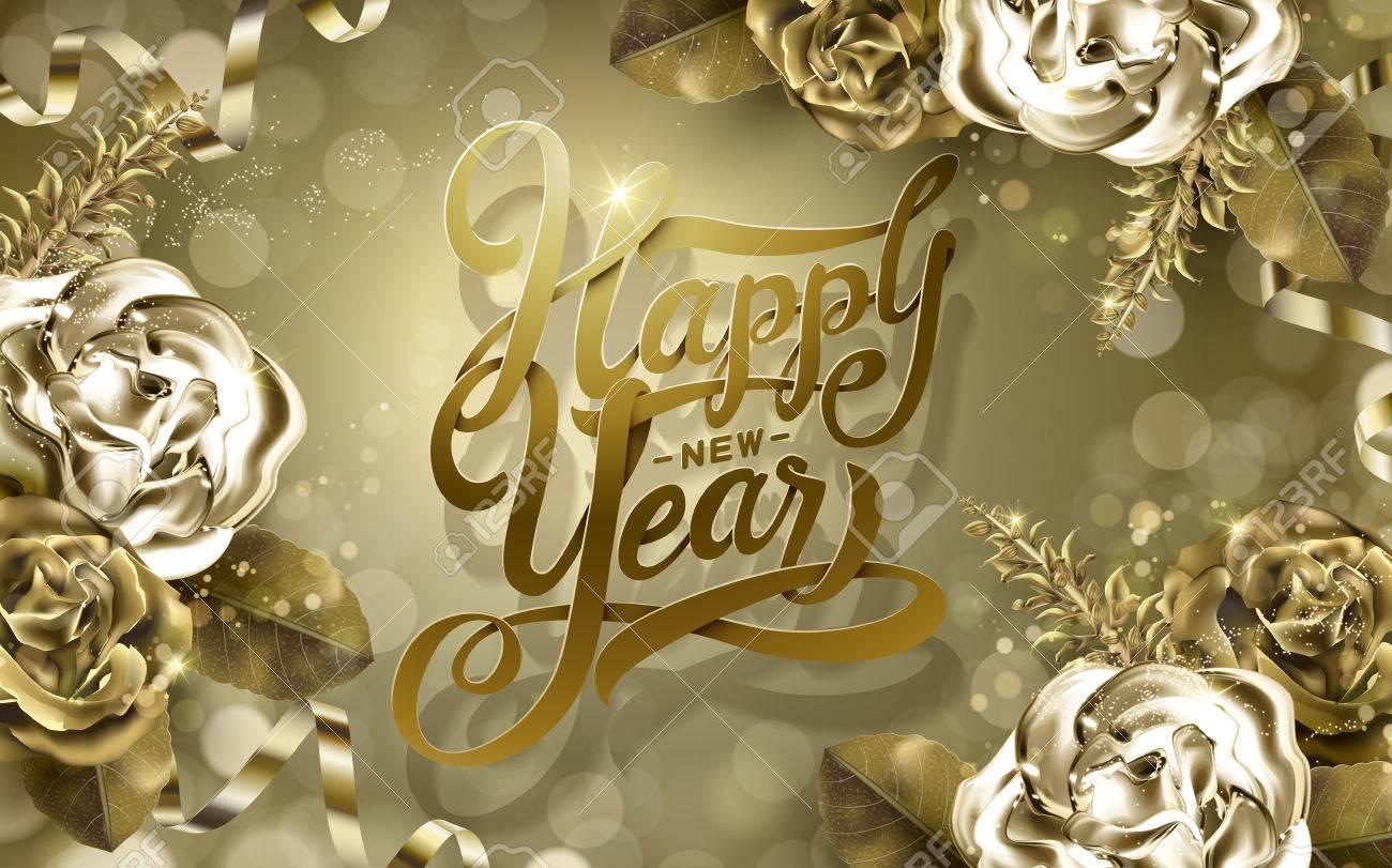 2017 Guten Rutsch Ins Neue Jahr Wörter Mit Goldenen Rosen Und ...
