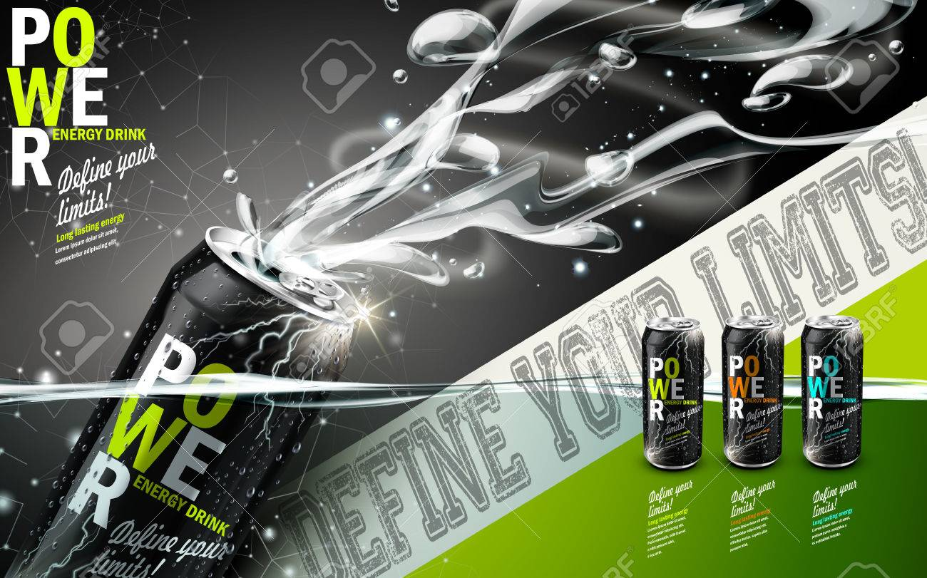 energy drink contained in three kinds of metal cans with refreshing breath elements, gray background - 70613385