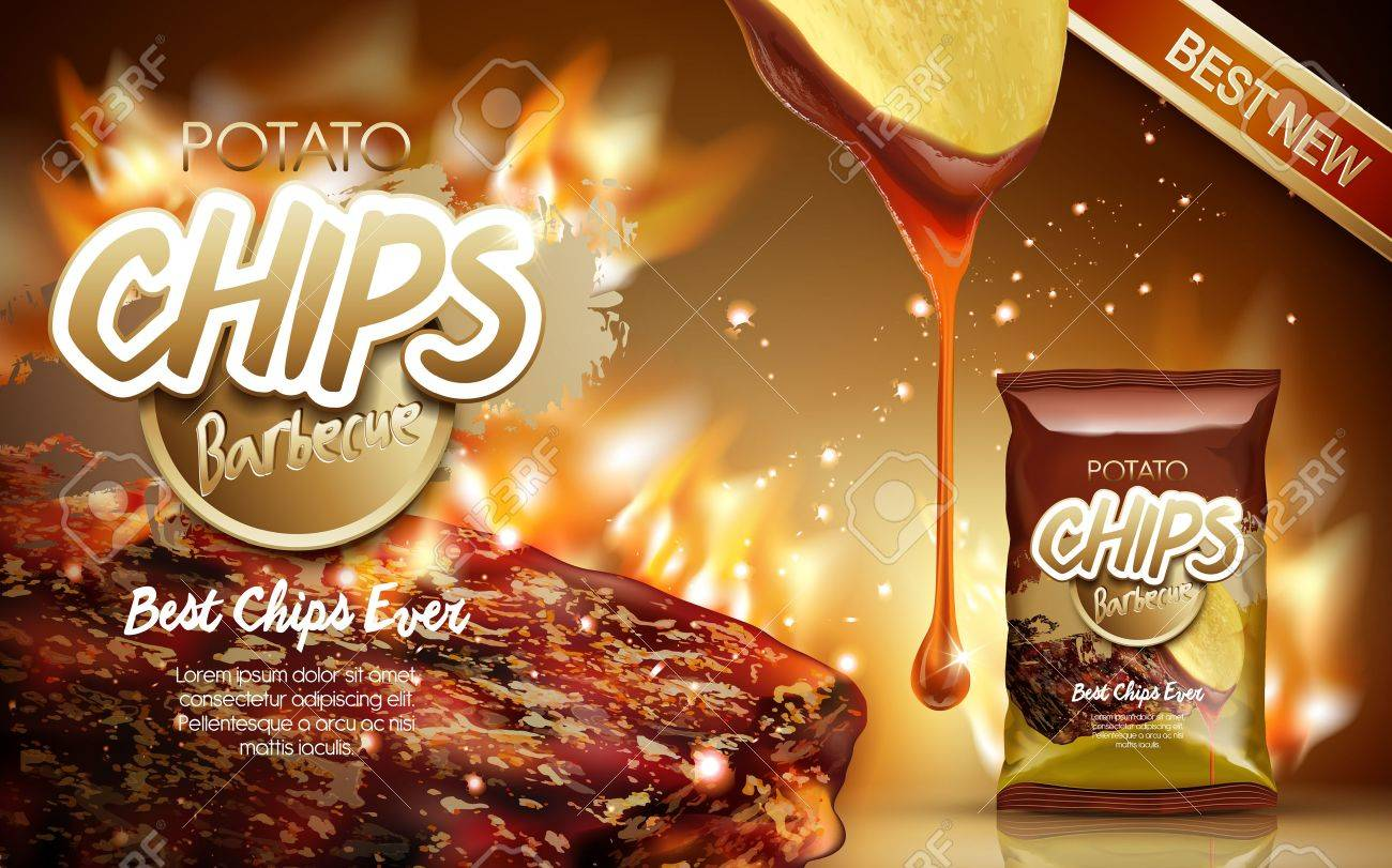 Potato chips ad barbecue flavor, with fire grilling meat elements, 3d illustration - 71808859