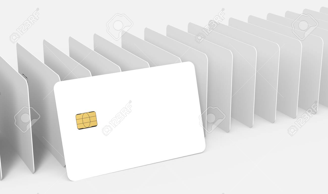 a white card leaning on countless blank white chip card models,