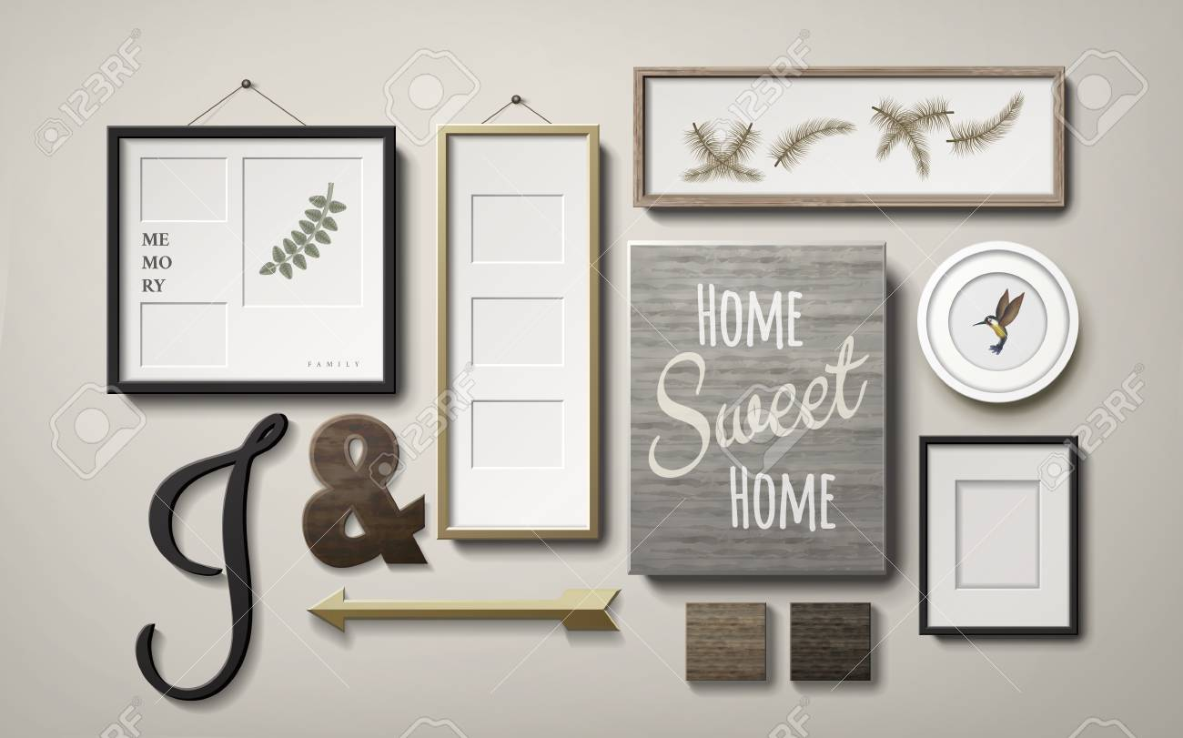 Amazing Blank Picture Frames Decoration In Different Shapes And Chalkboard Hanging  On The Wall, 3d Illustration