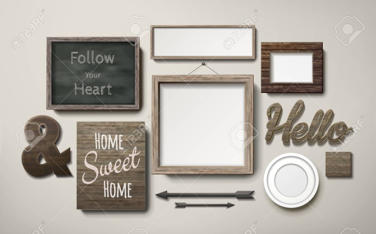 Awesome Blank Picture Frames Decoration In Different Shapes And Chalkboard Hanging  On The Wall, 3d Illustration