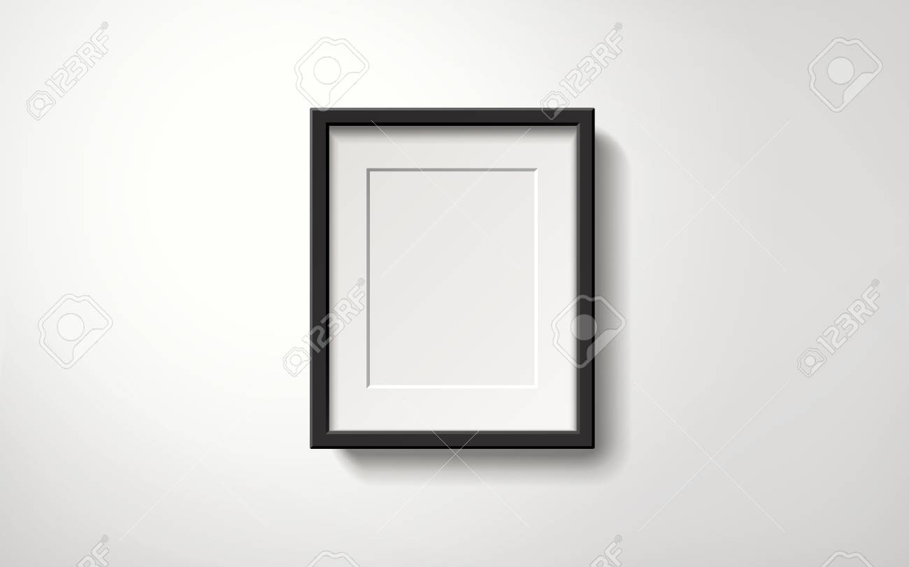 Isolated Blank Picture Frame Hanging On The Wall, 3d Illustration ...