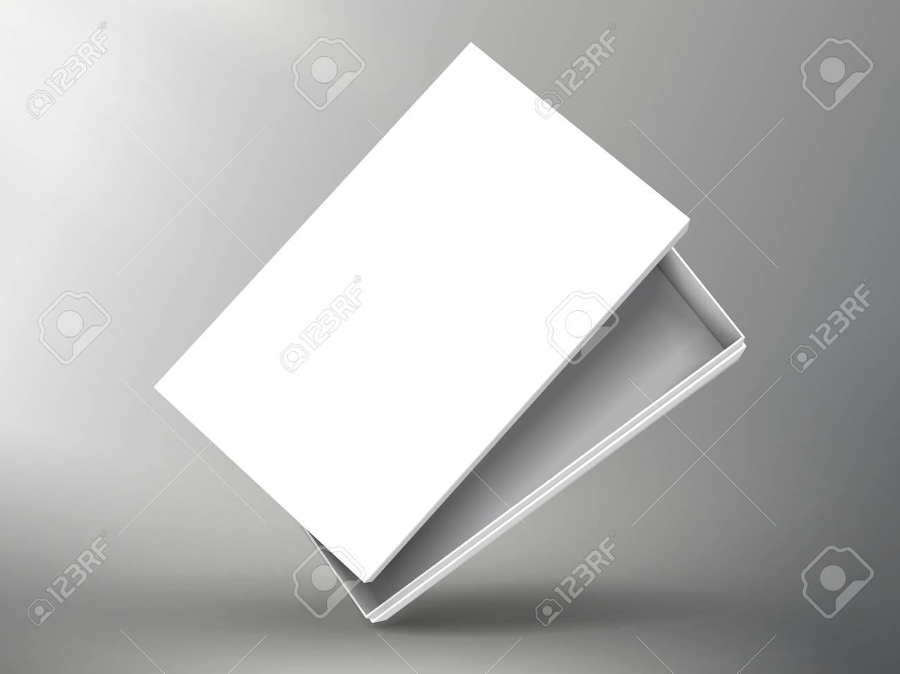 Schräger Leerer Halber Offener Weißer Flacher Papierkasten Mit ...
