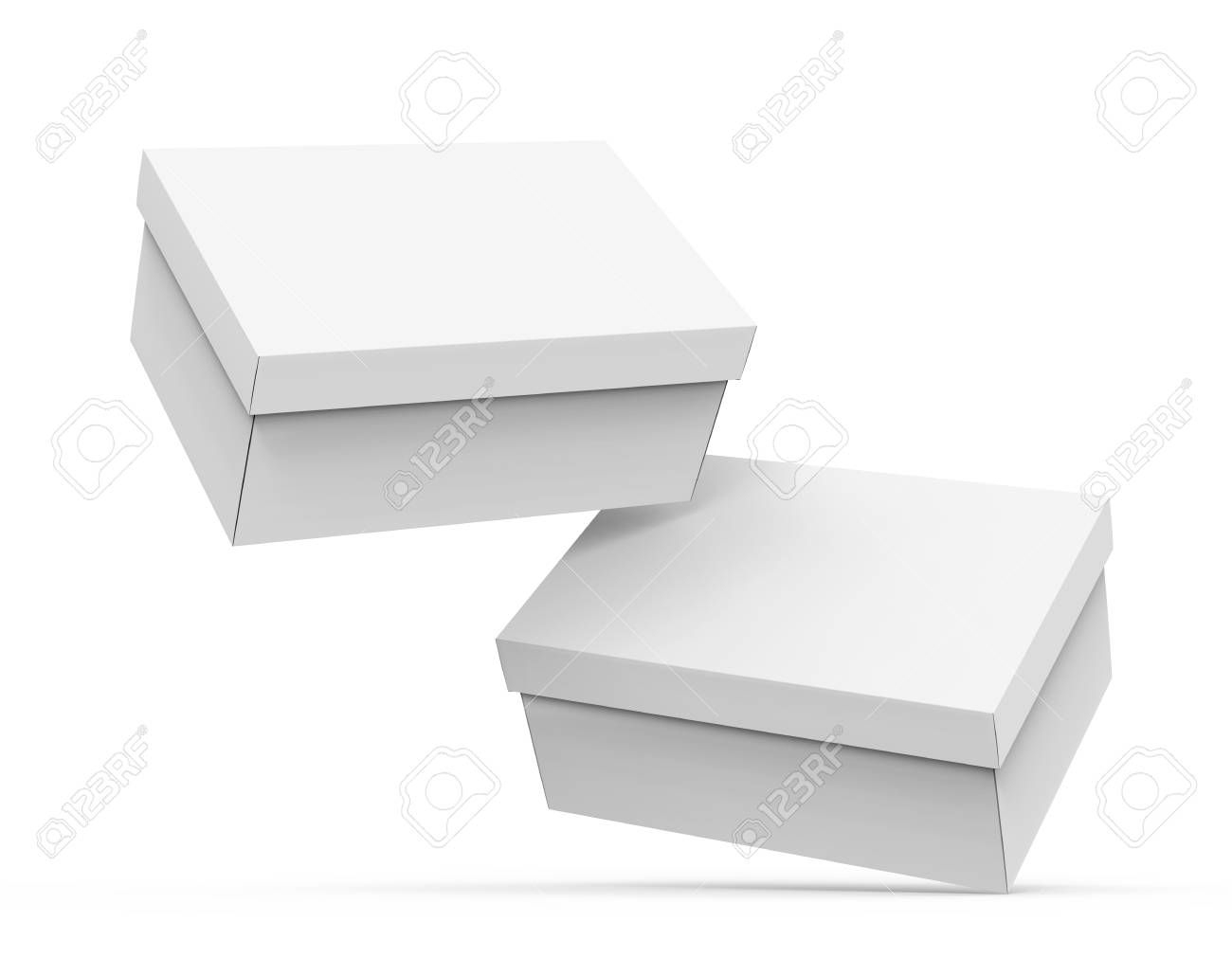 Blank Paper Box Template Two Boxes Mockup With Lid In 3d Rendering Floating