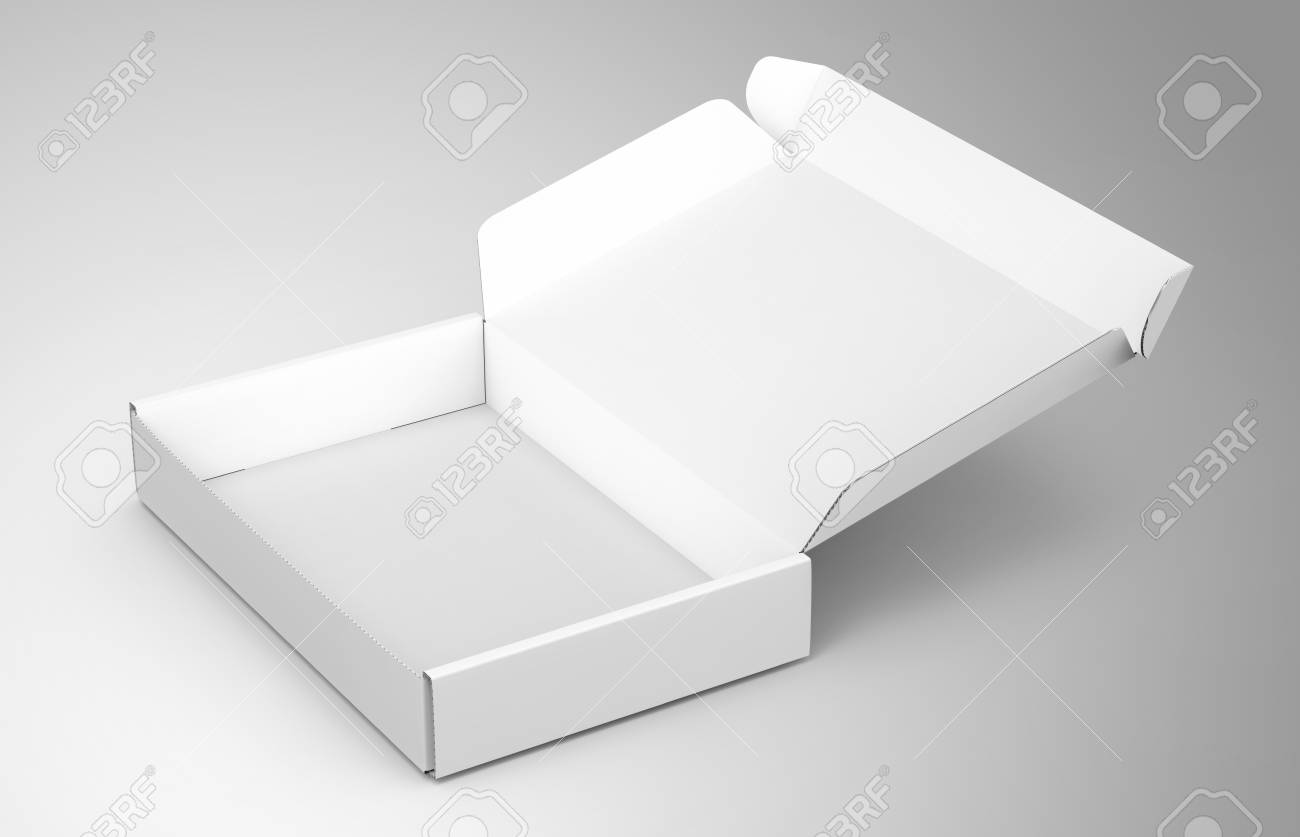 Blank Tuck Top Box Template Single Open Paper Mockup Isolated On Light Gray Background
