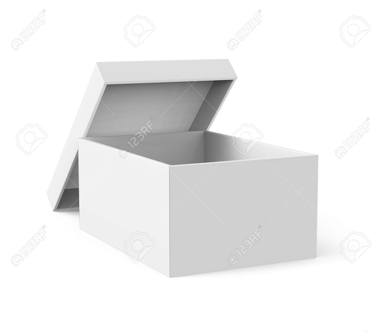 Blank Paper Box Template Single Mockup With Separate Lid Lean On It In 3d