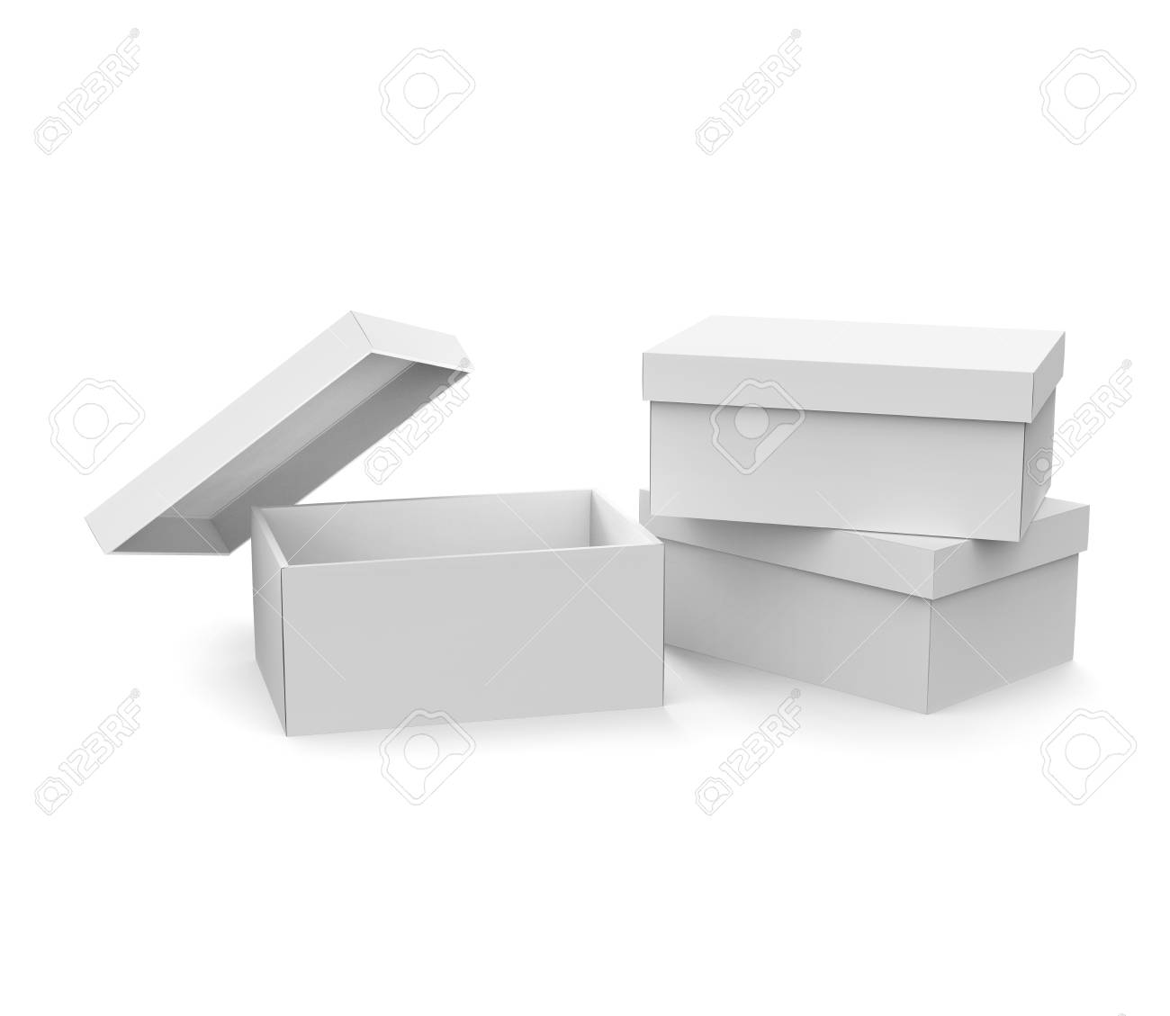 Blank Paper Box Template Three Boxes Mockup With Lid In 3d Rendering One Open