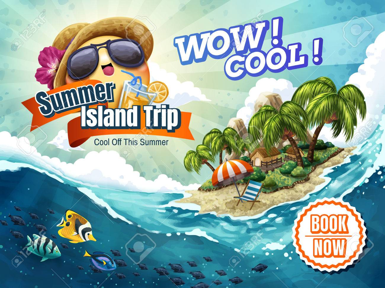 Summer Island Trip Tour Attractive Vacation Package Ad For Travel Agency Or Blog With