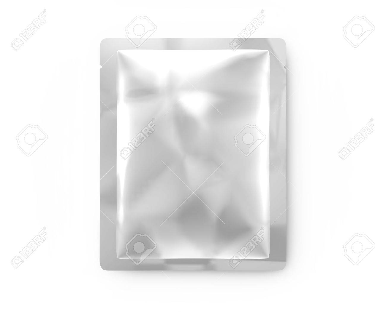 Facial Mask Package Mockup Blank Foil Template In 3d Rendering Top View Of