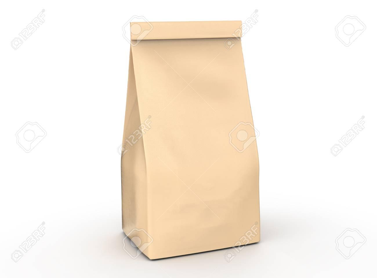 coffee bean package mockup blank craft paper bag template in